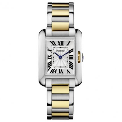 AAA Cartier Tank Anglaise watch for women W5310046 two-tone yellow gold and steel