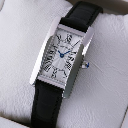 AAA Cartier Tank Americaine womens watch W2601956 18K white gold black leather strap