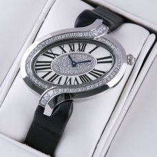 AAA Delices de Cartier replica diamond watch for women steel black fabric strap