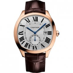 AAA Drive de Cartier watch pink gold brown leather strap WGNM0003