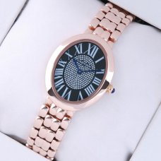 AAA Cartier Baignoire pink gold womens watch with black diamond dial