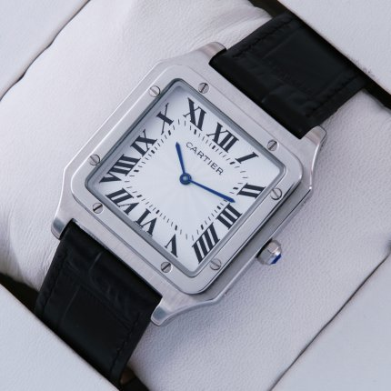 AAA Cartier Santos 100 quartz mens watch stainless steel black leather strap