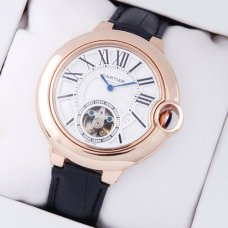 AAA Ballon Bleu de Cartier Flying Tourbillon watch W6920001 18K pink gold leather strap