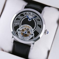 AAA Rotonde de Cartier tourbillon mens watch imitation steel black leather strap
