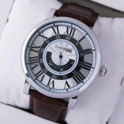 AAA Rotonde de Cartier brown leather strap steel replica watch for men W1556051