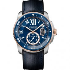 AAA Calibre de Cartier Diver blue watch pink gold steel leather and rubber strap W2CA0008