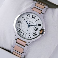 AAA Ballon Bleu de Cartier quartz watch two-tone 18kt pink gold and steel