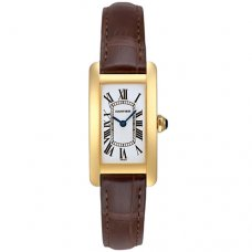 AAA Cartier Tank Americaine womens watch W2601556 18K yellow gold brown leather strap