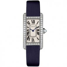 AAA Cartier Tank Americaine diamond watch for women WB707331 steel blue satin strap