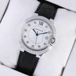 AAA Ballon Bleu de Cartier steel watch with two rows diamonds black leather strap