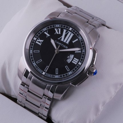 AAA Calibre de Cartier quartz watch for men stainless steel black dial