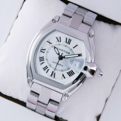 AAA Cartier Roadster stainless steel ivory dial automatic watch replica for men
