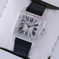 AAA Cartier Santos 100 swiss automatic watch stainless steel black alligator strap