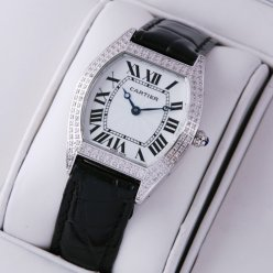 AAA Cartier Tortue small diamond ladies watch stainless steel black leather strap
