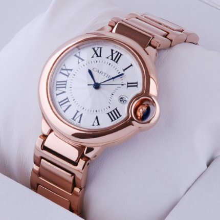 AAA Ballon Bleu de Cartier medium quartz watch 18kt pink gold