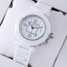 AAA Pasha de Cartier white ceramic unisex watch replica steel white dial