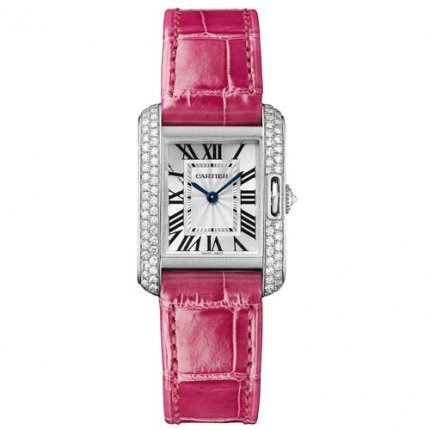 AAA Cartier Tank Anglaise diamond watch WT100015 18K white gold leather strap