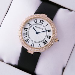 AAA Ronde Solo de Cartier diamond watch for women pink gold black stain strap