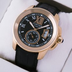 AAA Calibre de Cartier pink gold automatic mens watch black dial