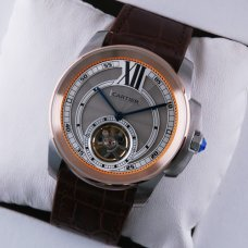 AAA Calibre de Cartier Flying Tourbillon mens watch grey dial two-tone pink gold steel