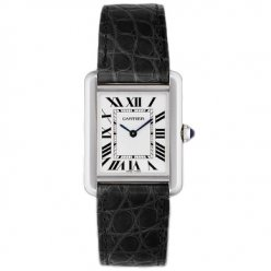AAA Cartier Tank Solo ladies watch replica W5200005 stainless steel black leather strap