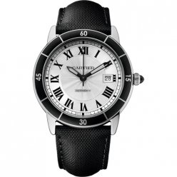 AAA Ronde Croisiere de Cartier watch steel silver dial black leather WSRN0002