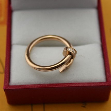 AAA Cartier Juste un Clou pink gold ring with diamonds B4094800