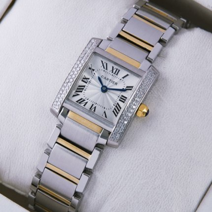 AAA Cartier Tank Francaise diamond watch for women two-tone
