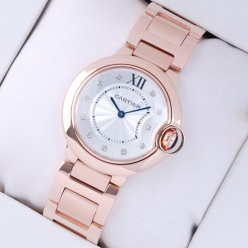 AAA Ballon Bleu de Cartier montre à quartz suisse 18 kt or rose cadran de diamant