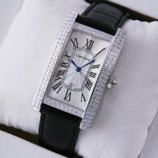 AAA Cartier Tank Americaine diamond mens watch stainless steel