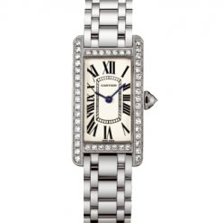 AAA Cartier Tank Americaine diamond 18K white gold watch for women WB7073L1