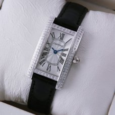 AAA Cartier Tank Americaine diamond watch for women steel black leather strap