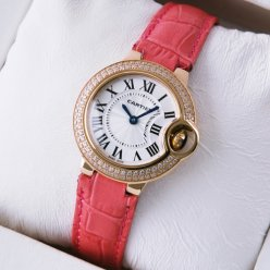 AAA Ballon Bleu de Cartier small quartz pink gold watch with diamond bezel