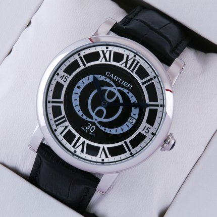 AAA Rotonde de Cartier large black dial and leather strap steel watch for men