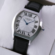 AAA Cartier Tortue medium watch stainless steel black leather strap