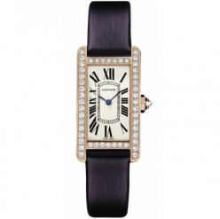 AAA Cartier Tank Americaine diamond watch for women WB707931 pink gold black satin strap