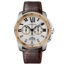 AAA Calibre de Cartier Chronograph watch W7100043 pink gold and steel