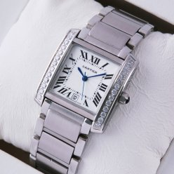 AAA Cartier Tank Francaise steel mens watch with single row of diamonds
