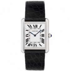 AAA Cartier Tank Solo mens watch replica W5200003 steel black leather strap
