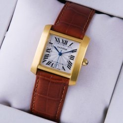 AAA Cartier Tank Francaise mens watch 18K yellow gold brown leather strap