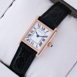 AAA Cartier Tank Solo swiss watch replica 18K pink gold black leather strap
