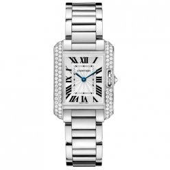 AAA Cartier Tank Anglaise diamond watch for women WT100008 18K white gold