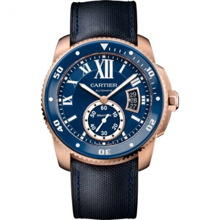AAA Calibre de Cartier Diver blue watch 18K pink gold leather and rubber strap WGCA0009