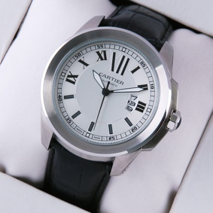 AAA Calibre de Cartier quartz watch for men steel black leather strap
