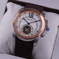 AAA Calibre de Cartier Flying Tourbillon mens watch two-tone brown leather strap