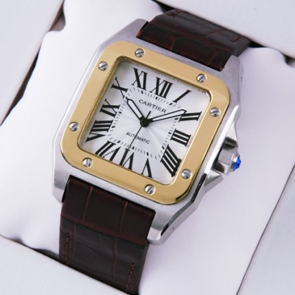 AAA Cartier Santos 100 automatic mens watch two-tone yellow gold and steel