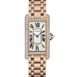 AAA Cartier Tank Americaine diamond 18K pink gold watch for women WB7079M5