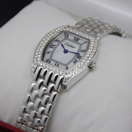 AAA Cartier Tortue small diamond watch steel white mother of pearl dial