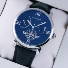 AAA Rotonde de Cartier tourbillon blue dial watch for men steel black leather strap