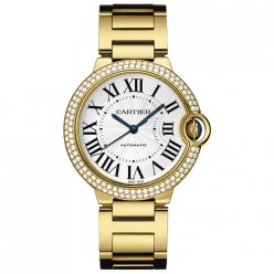 AAA Ballon Bleu de Cartier automatic watch 18kt yellow gold diamonds bezel